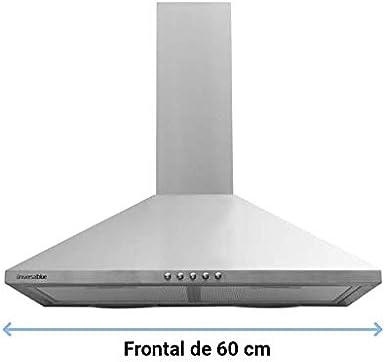 Universal Blue - Campana Extractora piramidal Acero inoxidable de 60 cm - 3 velocidades - Filtros de aluminio: Amazon.es: Grandes electrodomésticos