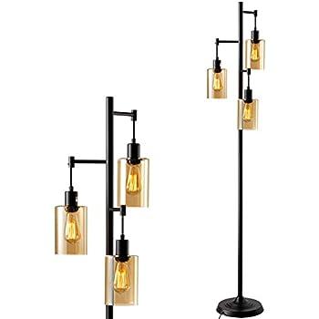 Calyx Industrial Downbridge Floor Lamp Bronze Cognac Glass