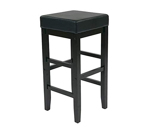 Hоmе Stаr Deluxe Premium Collection Office Star Metro Faux Leather Square Barstool with Espresso Legs 30-inch Black Decor Comfy Living Furniture