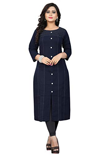 Delisa Womens Multi Designer Women Straight Multi Design Printed Kurti for Women Tunic Top r 3/4 Sleeve Dress 7 (Navy Blue-200, L-40)