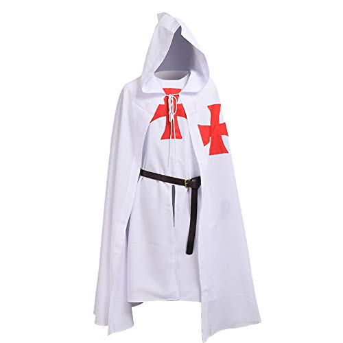 BLESSUME Medieval Templar Knight Tunic Cloak Belt Cosplay Costume Set (White - Costume Set Crusader
