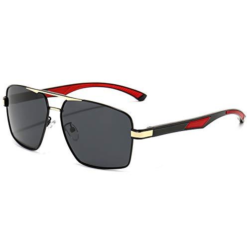 huasida Occhiali da sole da guida alla moda Occhiali da sole polarizzati con montatura quadrata Sport Corsa da golf Pesca Occhiali da viaggio Unisex (Grigio nero)