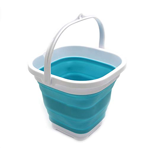 Collapsible Pail - SAMMART Super Mini Sqare Collapsible Plastic Bucket - Foldable Square Tub - Portable Fishing Water Pail - Space Saving Outdoor Waterpot (2.6L, Bright Blue)