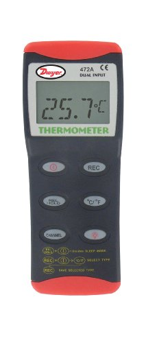 Dwyer® Dual Input Thermocouple Thermometer, 472A-1, Accepts J, K, T Thermocouples by Dwyer
