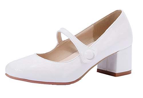 Tacón Tsmdh002899 Blanco Puntera Tacón Cerrada De Medio Sintético Zapatos Sólido Aalardom Mujeres wvPa4qxz