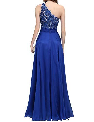 Ballkleider Eine Schulter Spitze Abendkleider Damen Chiffon Blau Beyonddress Lang Brautjungfernkleider Hochzeit ZwEzF