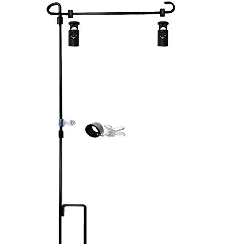 (W&X Garden Flag Stand-Holder-Pole with Garden Flag Stopper and Anti-Wind Clip 36.3