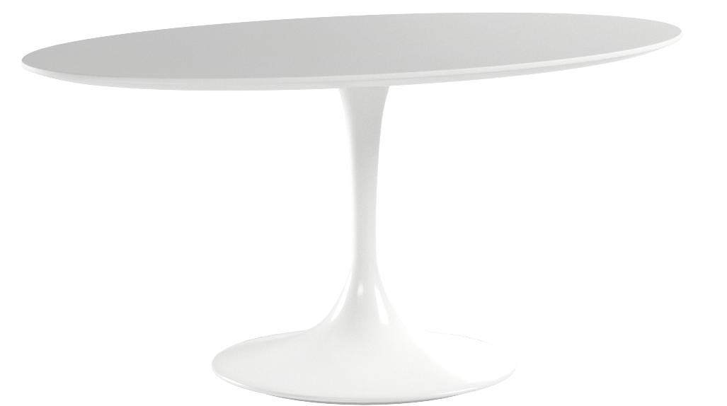 Modway Lippa 60'' Mid-Century Modern Kitchen and Dining Table with Oval Top and Pedestal Base in White by Modway (Image #5)