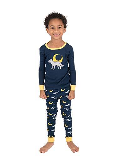 (Leveret Kids Pajamas Boys Girls 2 Piece pjs Set 100% Cotton (Wolf, Size 10 Years) )