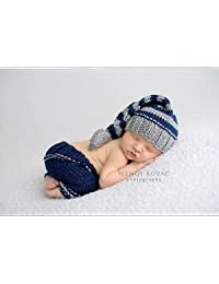 Sleepy Grey, Newborn Baby Girl/Boy Crochet Knit Costume Photo Photography Prop Hats Outfits