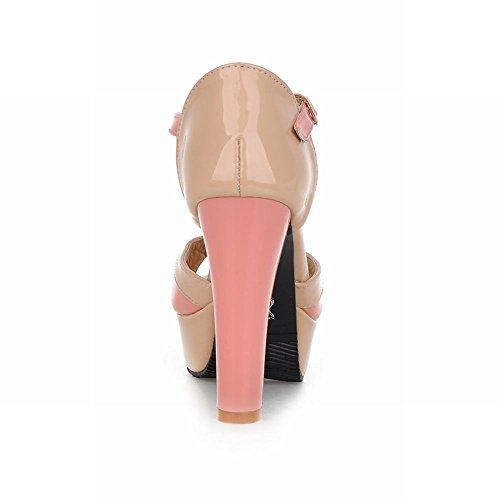 Carolbar Elegantie Dames Gesp T-strap Peep Toe Chic Assorti Kleuren Platform Ruig Hoge Hak Sandalen Roze
