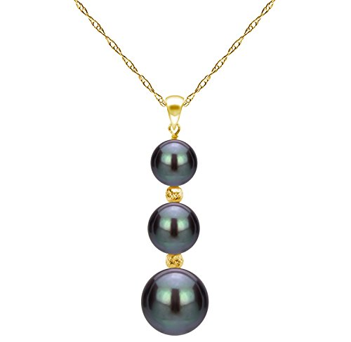 La Regis Jewelry Cultured Black Freshwater Pearl Pendant 14K Yellow Gold Chain Necklace Gift for Grandma 18 inch ()