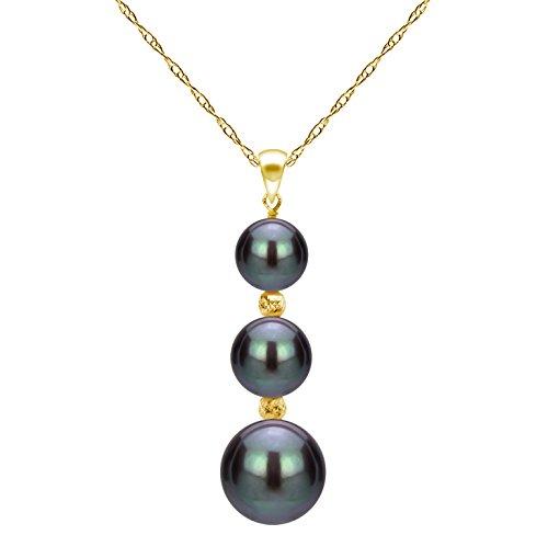 (La Regis Jewelry Cultured Black Freshwater Pearl Pendant 14K Yellow Gold Chain Necklace Gift for Grandma 18)