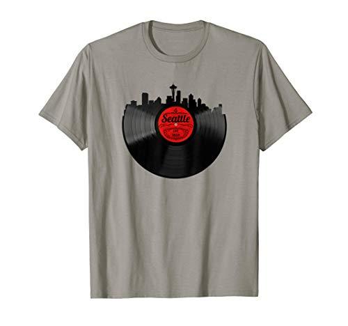 (Seattle Washington Shirt Skyline Record Vintage T-Shirt)