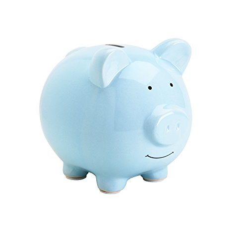 Pearhead Ceramic Piggy Bank, Makes a Perfect Unique Gift, Nursery Décor, Keepsake, or Savings Piggy Bank for Kids, Blue