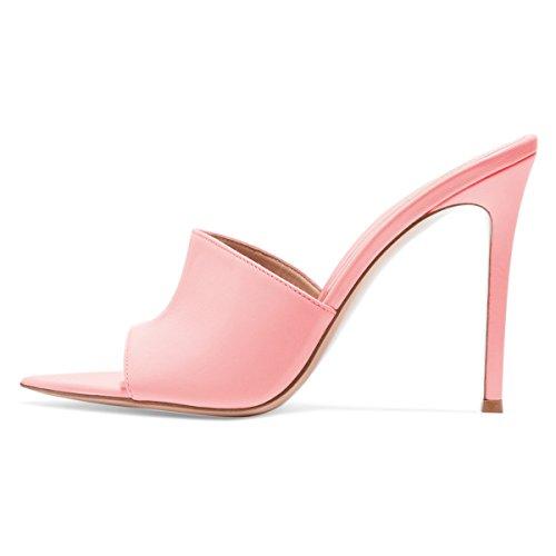 Fsj Mujer Fashion Slip On Mules Sandalias De Tacón Alto Peep Toe Faux Suede Sexy Slide Zapatos Tamaño 4-15 Us Pink-10 Cm