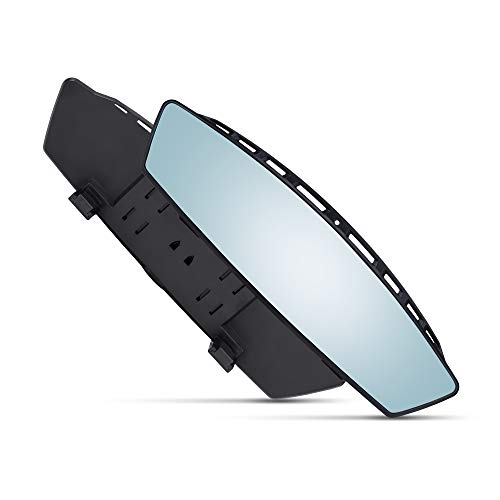 Universal 12 Inch Interior Curved Convex Rearview Mirror - Blue Tint - Clip On - Wide Angle - For Use in Car, SUV, Truck ()