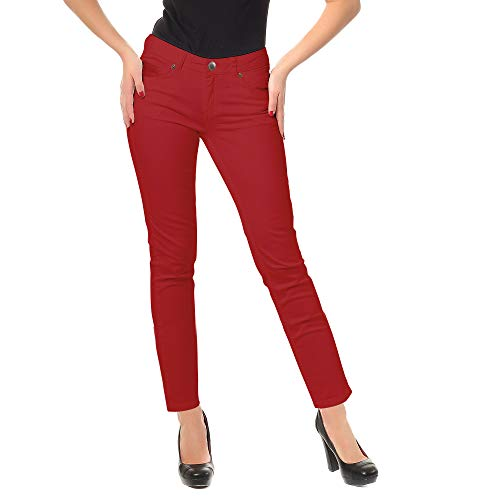 (Zac & Rachel Women's Low Rise Slim Stretch Comfy Jeans All Day Casual Dress Pants with Classic Zip Front, Five Pockets (Red, 12))