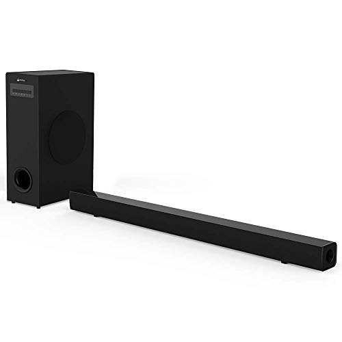 Meidong Sound Bar with Subwoofer, Wired and Wireless Sound Bars for TV【Home Theater Surround Sound System, 2.1 Channel 72 Watt Speaker, Wall Mountable, Remote Control】 (Surround Sound System Cables)