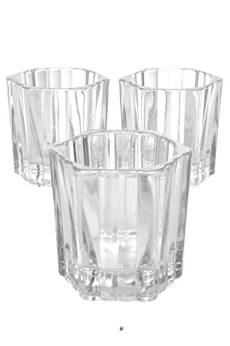 American Chateau Set 3 Pillar Textured Clear Embossed Glass 2.5