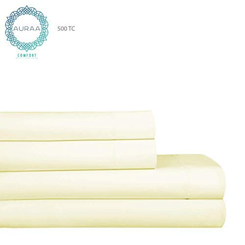 - AURAA 500 ELS Bedsheets Set, Queen, Ivory