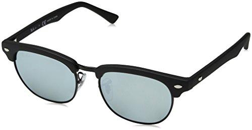 Ray-Ban Junior RJ9050S Clubmaster Kids Square Sunglasses, Matte Black/Silver Mirror, 47 ()