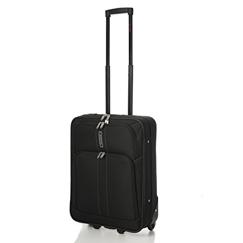 "5 Cities 55x40x20cm RYANAIR MAX CABIN SIZE 41 Litre Super Lightweight Travel Carry On Hand Luggage Suitcase with 2 Wheels, Also Approved for Easyjet, British Airways and Many More! (21"", Black)"