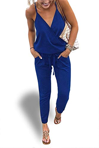 Alelly Women's Sexy V Neck Backless Spaghetti Strap Jumpsuit Rompers Blue (Justin Bieber Picture Frame)