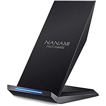 Fast Wireless Charger, NANAMI Qi Certified Charger Wireless Charging Stand Compatible iPhone 11/11 Pro/11 Pro Max/XS/XS Max/XR/X/8/8 Plus,Samsung ...