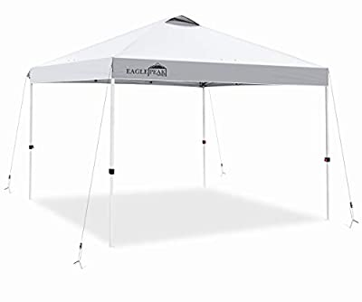 EAGLE PEAK 10' x 10' Pop Up Canopy Tent Instant Outdoor Canopy Straight Leg Shelter with Adjustable Height and Wheeled Carrying Bag