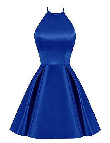 Scollato Abito Bess Halter Da Sposa Casa Vestito Senza A Ritorno Promenade Breve Del Donne Delle Royal Maniche Blu vfdfwxFrgq