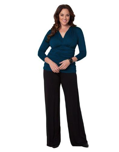 Ruched Wide Leg Gaucho (Kiyonna Women's Plus Size Peyton Palazzo Pants 0X Black Noir)