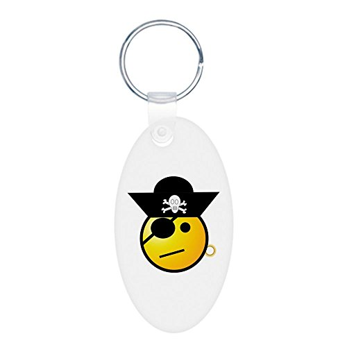 Aluminum Oval Keychain (2-Sided) Smiley Face Pirate