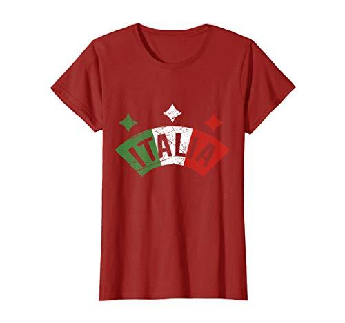 Womens Italia Italian Flag T-Shirt I Distressed Italy Family Gift