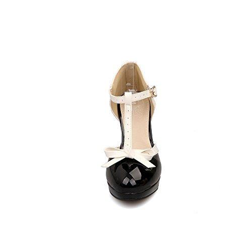 Lucksender Fashion T Strap Bows Womens Platform High Heel Pumps Shoes 8B(M) US Black