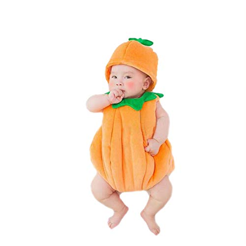 Cute Newborn Photography Props Pumpkin Costume Jumpsuit Baby Boy Girl Outfits Hat Clothes (Yellw) -