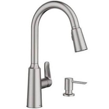 Edwyn Spot Resist Stainless 1-Handle Deck Mount Pull-Down Kitchen Faucet (Moen Deck Mount)