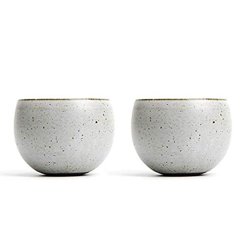 - QMFIVE Hand Painted Ceramic Color Tea Cup for Puer Tea - 2 Pcs,(Moonlight White)