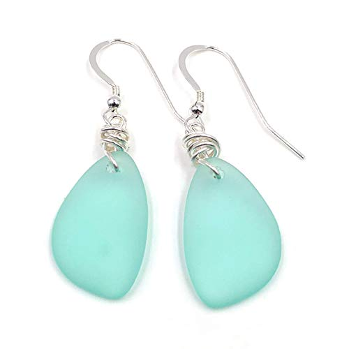 (Best Selling Sea Foam GREEN Sea Glass Earrings with Charming Handmade Silver Knot on Sterling Silver Hooks, by Aimee Tresor)