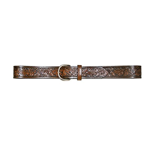 Hickory Creek Men's 1 1/2 inch Buffalo Veg Embossed Brown Leather Belt - D-Ring Buckle - Size 36
