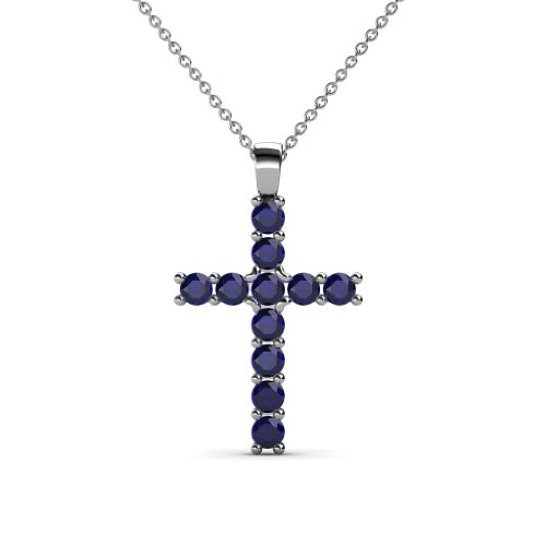 TriJewels Petite Blue Sapphire Cross Pendant 0.35 ctw in 14K White Gold with 14K Gold Chain