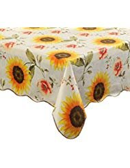 Ennas Cz001 Engineered Flannel Backed Vinyl Tablecloth Oblong(rectangle) (60-Inch by 90-Inch oblong(rectangle)) (Spring Tablecloth Vinyl)