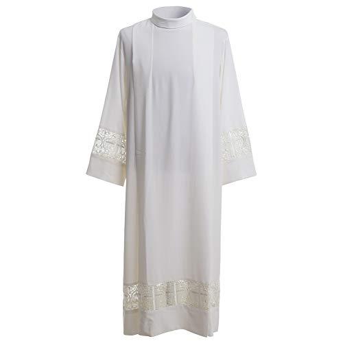 - BLESSUME Priest ALB Liturgical Church Garment Cross Lace Box Pleated ALB (XL) White