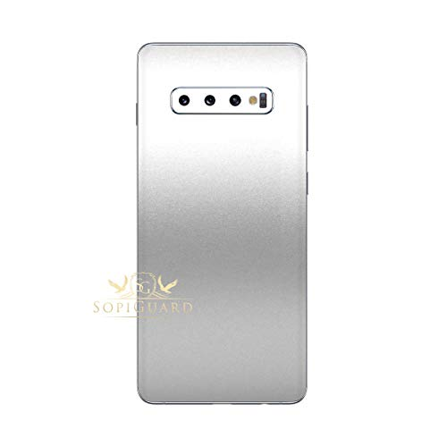 (SopiGuard Skin for Samsung S10+ Plus Precision Edge-to-Edge Vinyl Sticker Back Only (Matte Silver Metallic) )