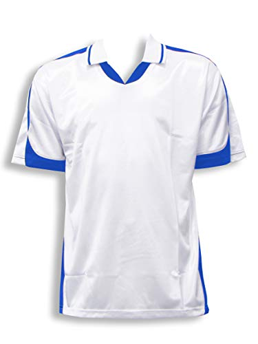Code Four Athletics Alpha Soccer Jersey with Collar - Size Adult S - Color White/Royal