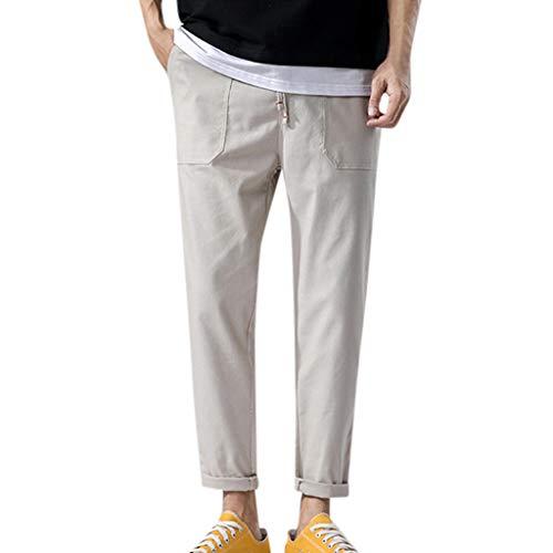 - ZEFOTIM Pants for Men Fashion Summer Casual Solid Pocket Drawstring Cotton Linen Long Pants (Khaki,XXX-Large)