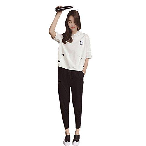 セットアップ Tシャツ+ハロンパンツ 上下 2点セットスウェット 着やせ スポーツ トレーニング ヨガ ウェア レディース パ ンツ 半袖 セット アップ  9分丈 ズボン レディース 春夏 大きいサイズ