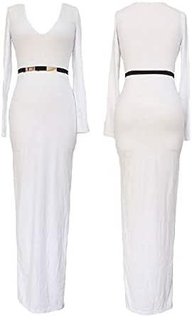 SizeCasual v collar long dress white