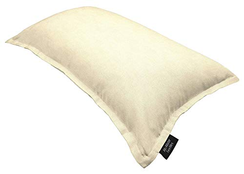 McAlister Textiles Savannah Filled Pillow Natural Cream Beige Decorative Solid Color Throw Scatter Sofa Cushion Sham Size – 20 x 12 Inches