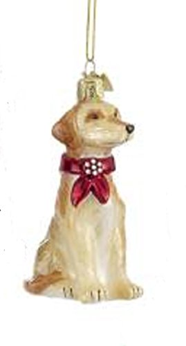 Yellow Lab with Red Bow Glass Christmas Ornament